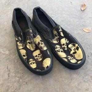 Vans Gold Skulls Slip On Shoes